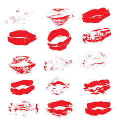 lipstick kiss prints isolated on white background vector image