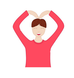 Man making a heart symbol isolated k-pop young vector