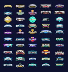 Mega sport logotype collection emblem typography vector