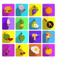 Modern food and vegetables icon set vector