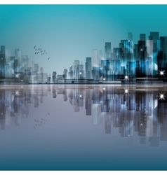 Modern night city with reflection on water vector image