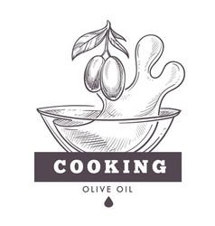 olive oil extra virgin monochrome sketch outline vector image