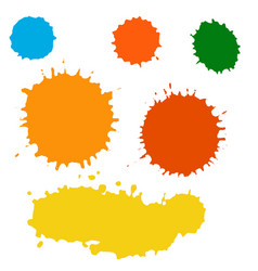 Paint splash set brush strokes vector