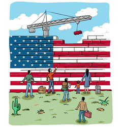 People refugees in front a usa wall flag vector