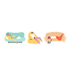 people with pets woman on sofa with kitten boy vector image