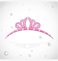 Pink shiny tiara with precious stones isolated on vector