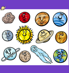 planets and orbs cartoon characters set vector image