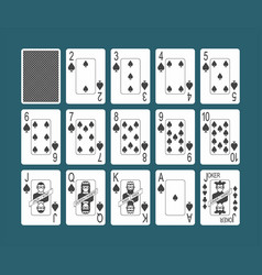 Playing cards spades set vector