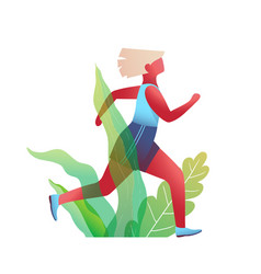 Pretty blond woman running fitness workout in vector