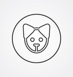 puppy outline symbol dark on white background logo vector image