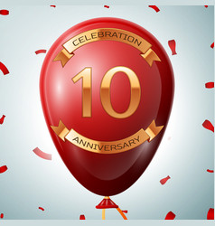 Red balloon with golden inscription ten years vector