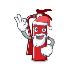 Santa fire extinguisher mascot cartoon vector