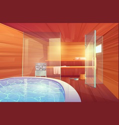 Sauna with swimming pool and glass doors interior vector