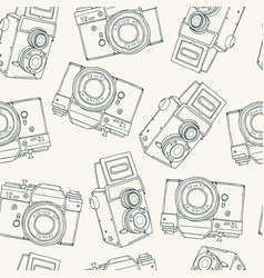 Seamless pattern with retro hand drawn hipster vector