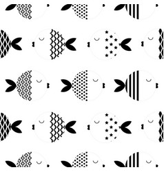 seamless scandinavian style fishes geometrical vector image