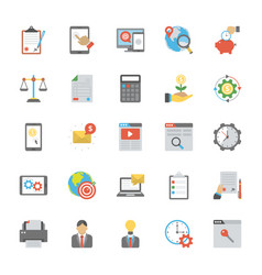 seo and marketing flat icons set vector image