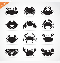 Set of crab icons on white background aquatic vector