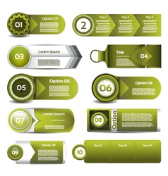 Set of green progress version step icons eps 10 vector