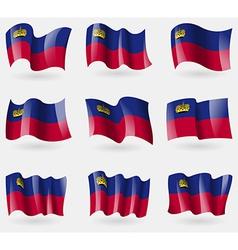 Set of Liechtenstein flags in the air vector image