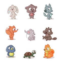set of small forest dwellers vector image