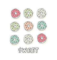set of sweet cartoon colorful donuts isolated vector image