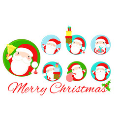 set round christmas stickers with cute santa vector image