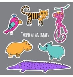 Set tropical animals vector