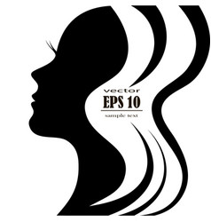 Silhouette of a female head with a beautiful hair vector