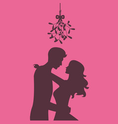 silhouette of loving couple are kissing under vector image