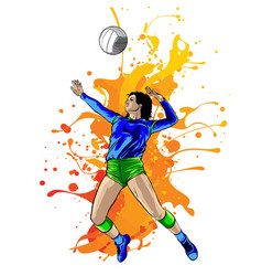 silhouette volleyball player with flames vector image