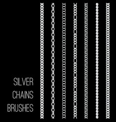silver chains set isolated on black vector image
