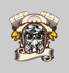 skull wearing helmeteagle and machine bikers hand vector image