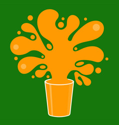 Splash and blot orange juice from glass shape vector