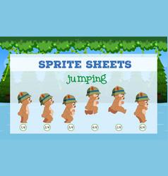 sprite sheets bear jumping vector image