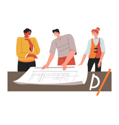 team architects planning new constructions on vector image