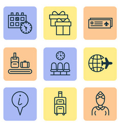 transportation icons set with gift box world vector image