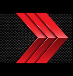Triple red metal arrow direction dark hexagon mesh vector