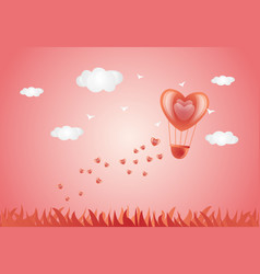 valentine day card - heart air balloon in pink sky vector image