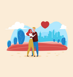 valentines day love concept with happy romantic vector image