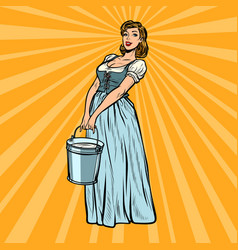 village woman with a bucket water vector image
