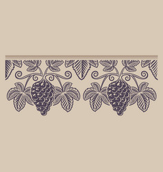 vintage seamless branch grape pattern on the vector image