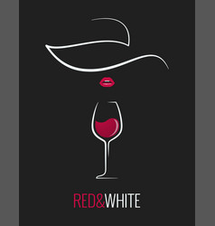 wine glass red and white concept design background vector image