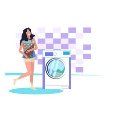 woman basket with dirty clothes near washing vector image