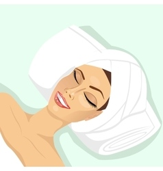 Woman lying with closed eyes in spa vector