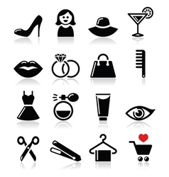 Woman or girl - beauty and fashion icons se vector