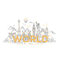 world - line travel vector image