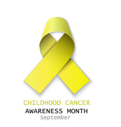 yellow cancer ribbon on white back vector image