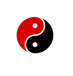 Yin yang icon harmony symbol red and black vector