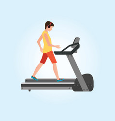 young adult man running on treadmill vector image