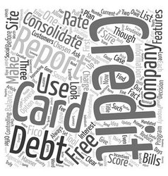 Consolidate A Credit Card To Reduce Your Debt text vector image vector image